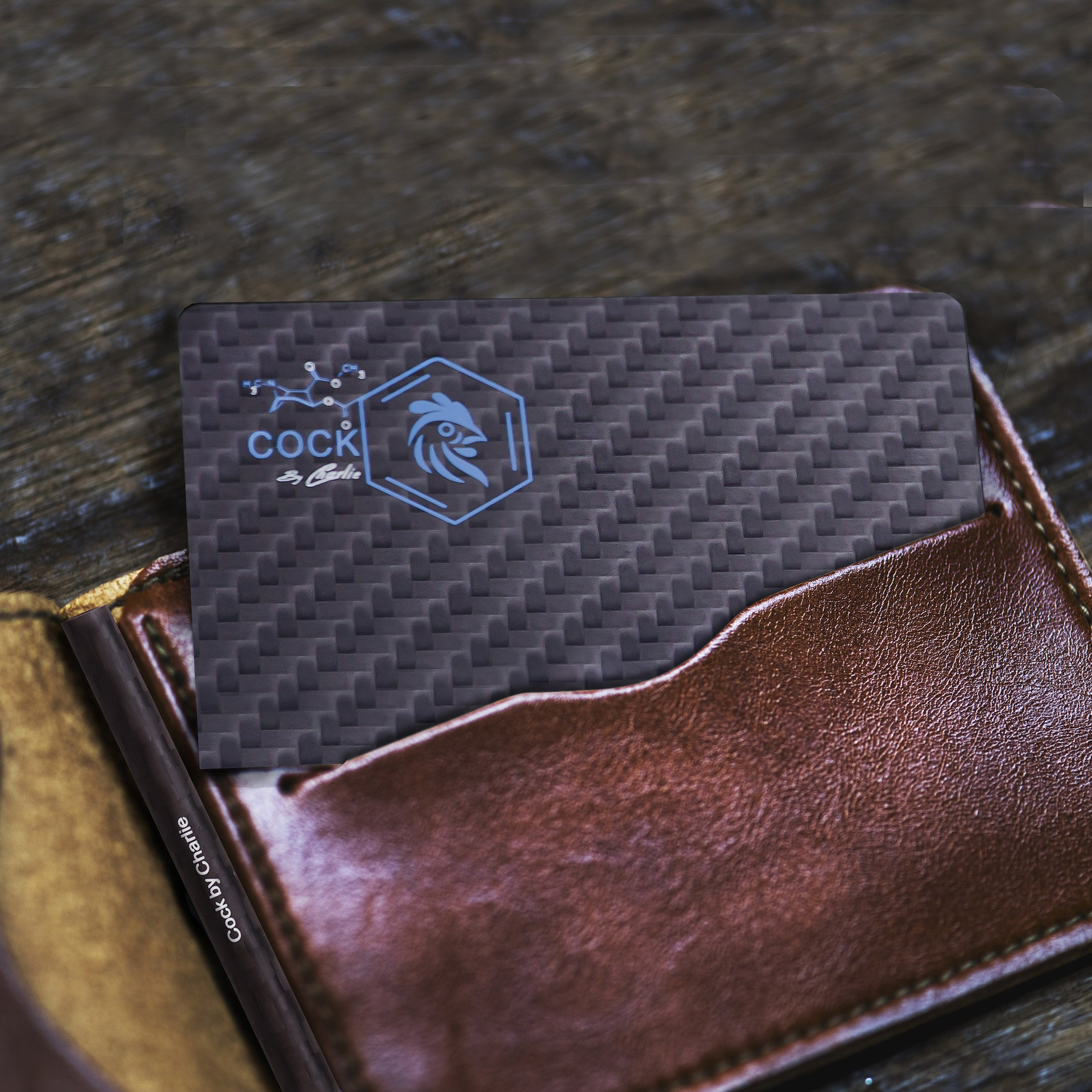 Carbon fiber card in wallet