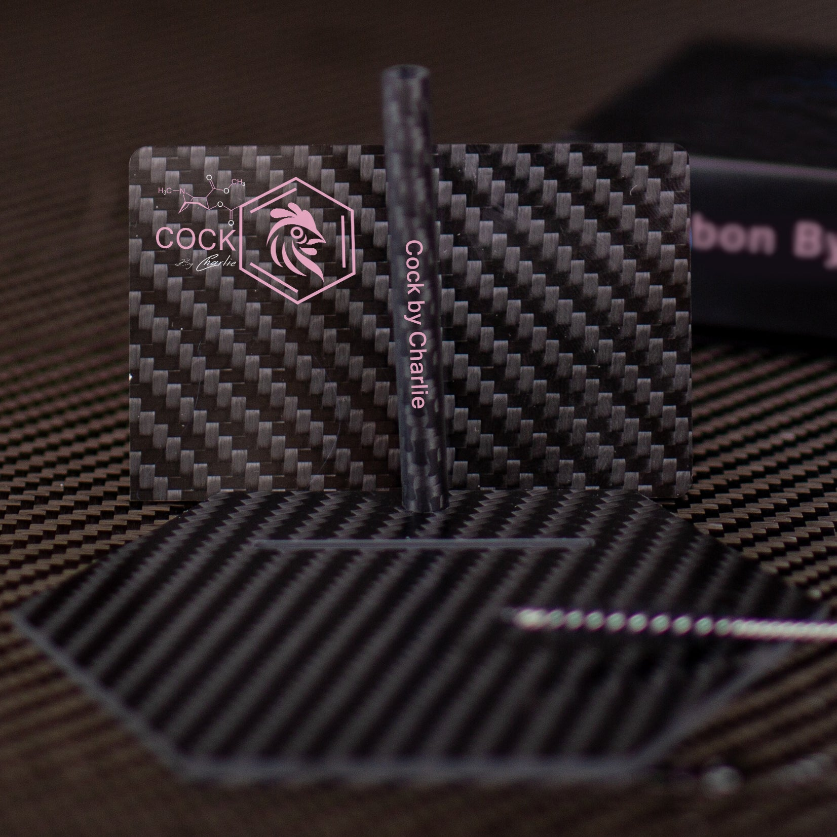 Pure Carbon Fiber Cutting Card And Straw