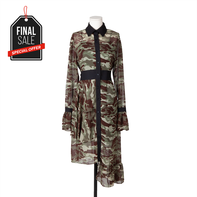Camoflage Unblanced Shirt Dress