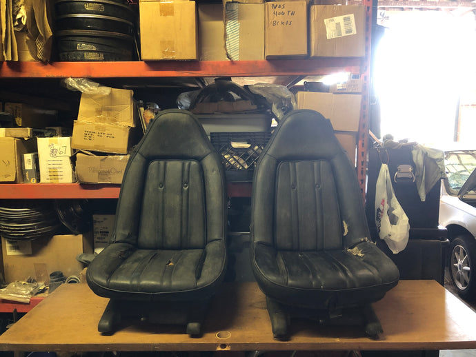 73-77 GM Swivel Bucket Seats Pair Black - Sundellauto Specialties Chevelle, El Camino, Malibu, Impala, Caprice, Biscayne, Bel Air, Camaro, Nova, Chevy II, GTO, LeMans, Tempest, Bonneville, Grand Prix, Catalina, Ventura, Skylark, Special, GS, Riviera, Gran Sport, Wildcat, Cutlass, Cutlass Supreme, 442, F-85, and Vista Cruiser  Original