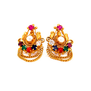 22k Ladies Earrings w/ Gems