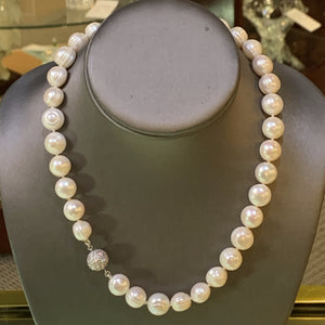 Freshwater Pearl Necklace wih CZ Ball Clasp