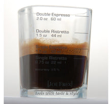 "Load image into Gallery viewer, Espresso Shot & Measuring Barista Glass 2oz 1,8""x1,8""x2,6""Single Double Shot Ristretto Espresso"