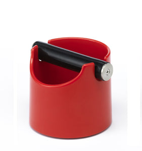 "Knock Box Basic Red for Barista 4"" with food grade silicone knock bar, removable for easy cleaning, dishwasher safe"