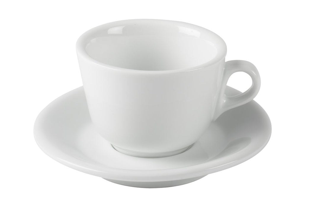 Cappuccino Cups Porcelain with Saucers Italian Style- 6.5 Ounce for Cappuccino- Set of 6