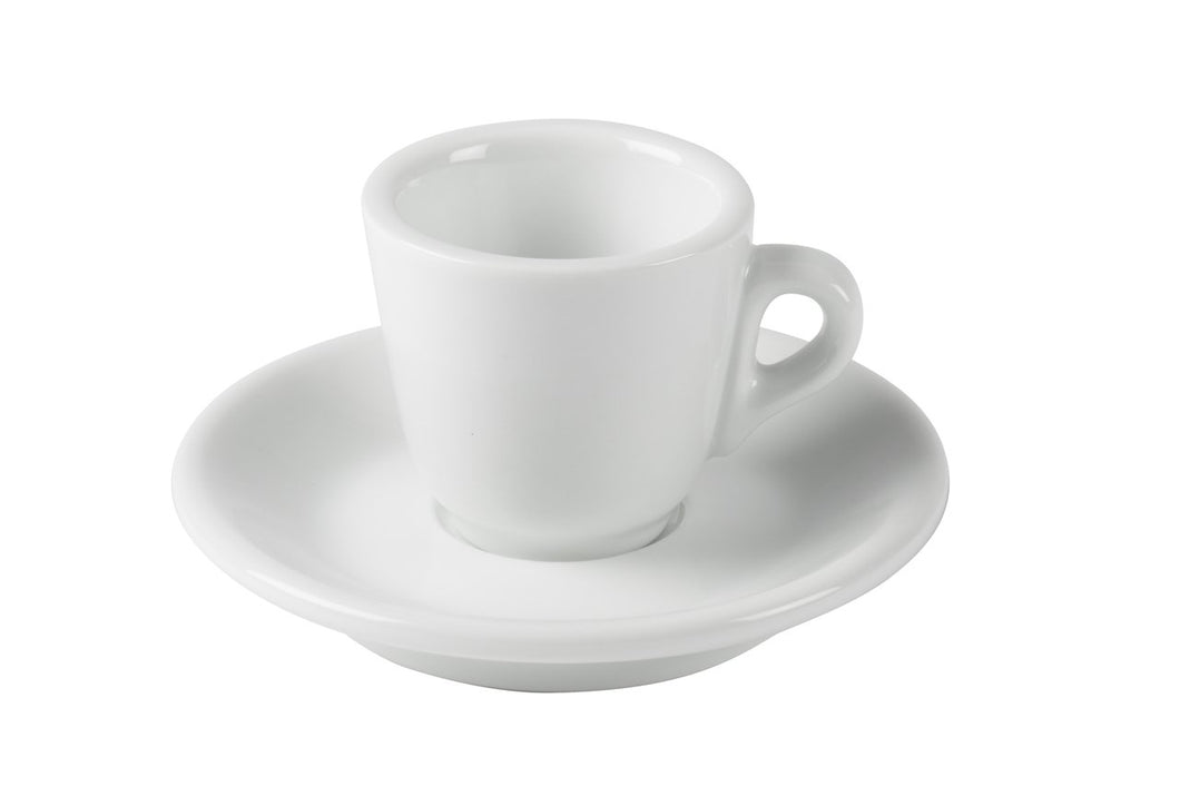 Porcelain Espresso Cups with Saucers - 2oz 60ml for Specialty Coffee Drinks- Set of 6, White