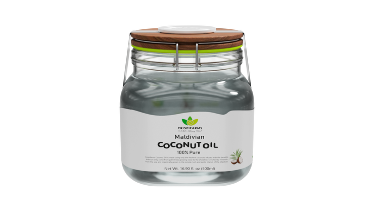 Pure Maldivian Coconut Oil, 500ml Jar with clip-on lid - Crispifarms