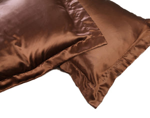 Pair of Chocolate Oxford Silk Pillow cases