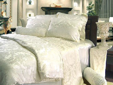 Cream Silk Jacquard Duvet Cover
