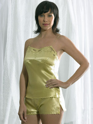 Silk Camisole and Shorts D12 (Hand embroidered)