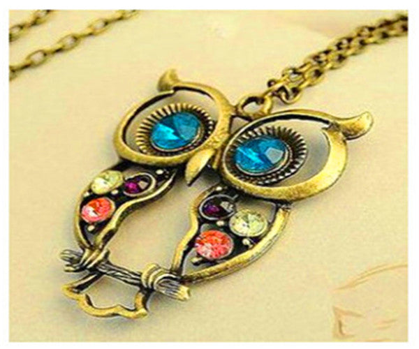 2016 New Fashion Statement Owl Crystal Necklaces Pendants For Women As A Gift,Gold & Silver Chain Long Jewelry,collier female