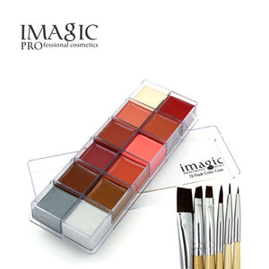 IMAGIC Halloween Face Body Paint Oil Painting Art Make Up Set Tools Party Fancy Dress 12 Flash Tattoo Color+6pcs Paint Brush