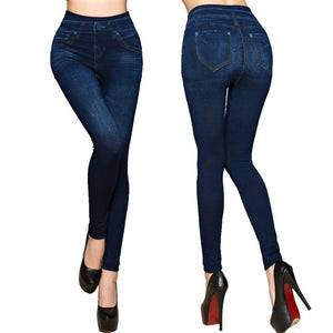 Fashion Slim Women Leggings Faux Denim Jeans Leggings Sexy Long Pocket Printing Summer Leggings Casual Pencil Pants Plus size
