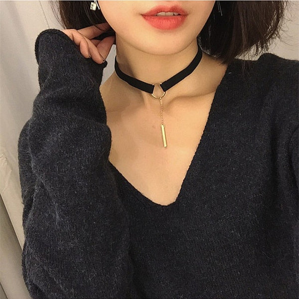 Gold Women Choker Necklaces Simple Punk Pendant Black Leather Chokers Trendy Chain Necklaces X178