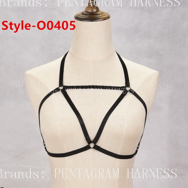 96f5b59c05e ... Womens Fashion Sexy Harness Bra Bondage Lingerie Body Harness Belts  Black Elastic Strappy Tops Caged Bras ...