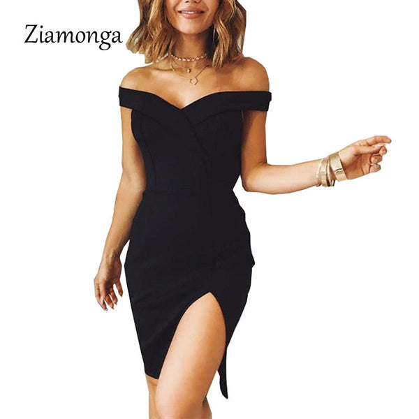 Ziamonga Women Autumn Dress 2017 Winter Black Red Off Shoulder Backless Tunic Party Dress Sexy Robe Femme Bodycon Bandage Dress