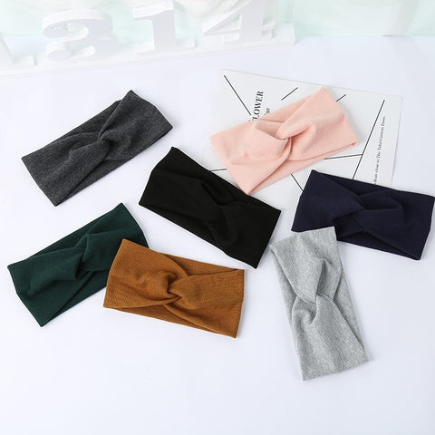 Woman Headband New Turban Solid Headbands Girls Makeup Fabric Elastic Hair Band Twisted Knotted Hair Accessories Headwrap