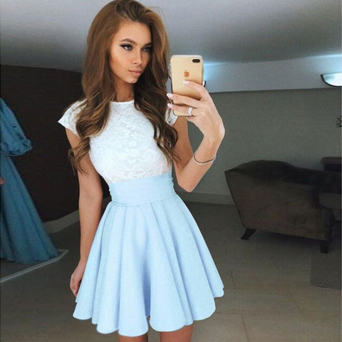 Women Summer Dresses Fashion Elegant Dress Casual Cute Short Sleeve Patchwork Pink Blue Dress Plested Ball Gown Dress Vestidos