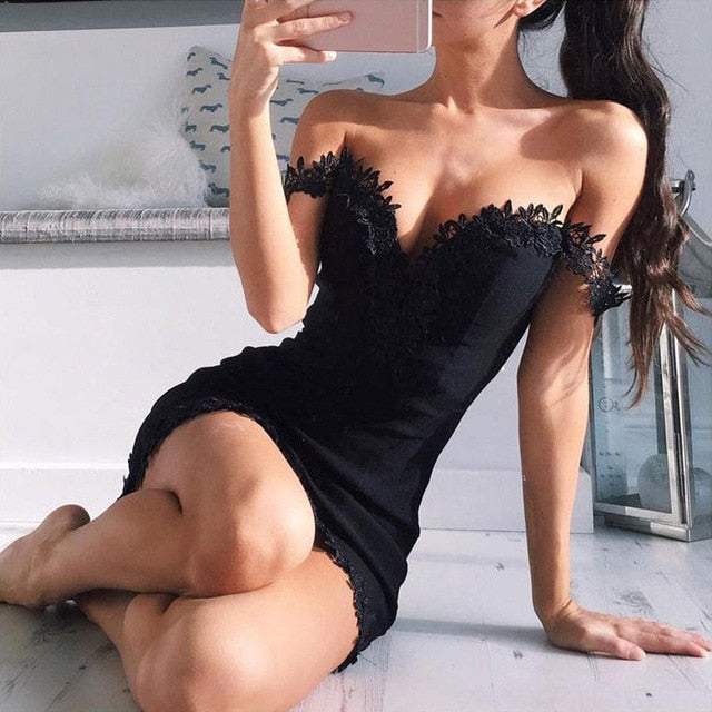 New Arrival Women Off Shoulder Lace Dress Summer Sexy Bodycon Strappy V Neck Evening Party Dress