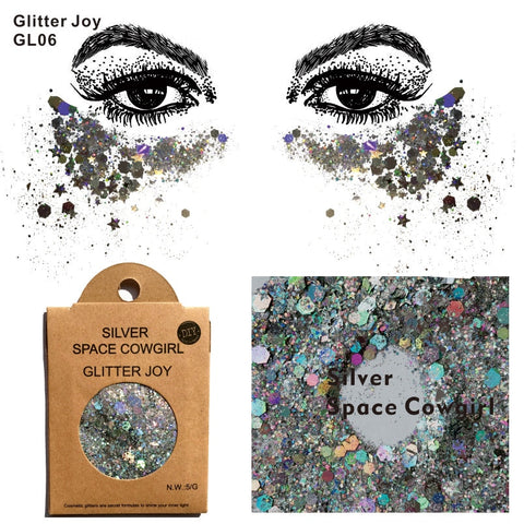 GL06 one pack of Silver Space Cowgirl Chunky Body Glitter Sequins Glitter Face  Glitter Festival Beauty Body Makeup
