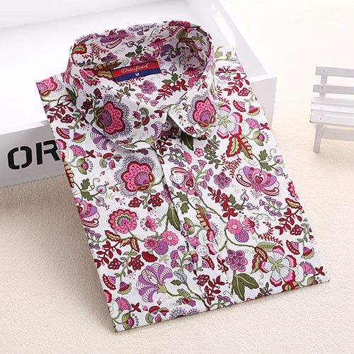 Dioufond Women Cherry Blouses Long Sleeve Shirt Turn Down Collar Floral Blouse Plus Size 5XL Women Vintage Cotton Shirt