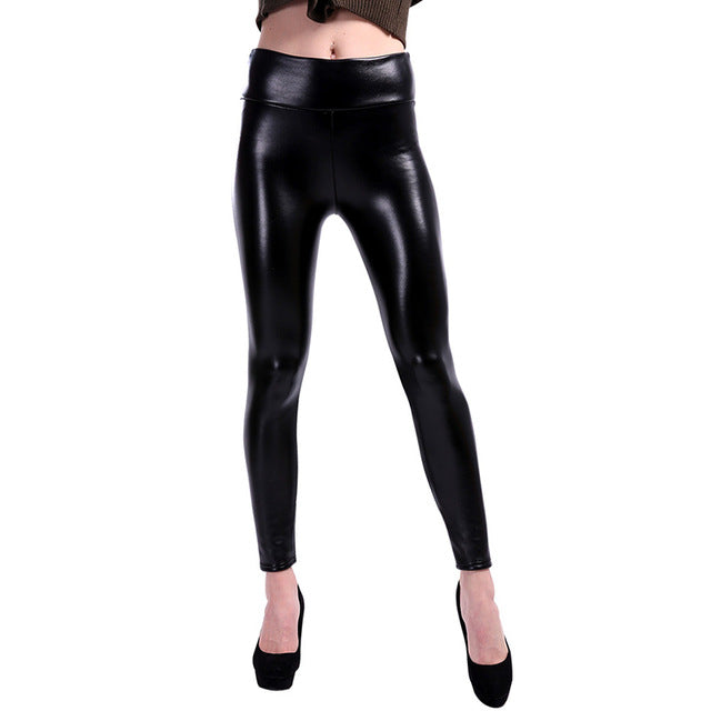 CHRLEISURE S-5XL Plus Size Leather Pants Women High Waist Pencil Pants Pantalon Femme PU Leather Leggings Stretch Trousers Women
