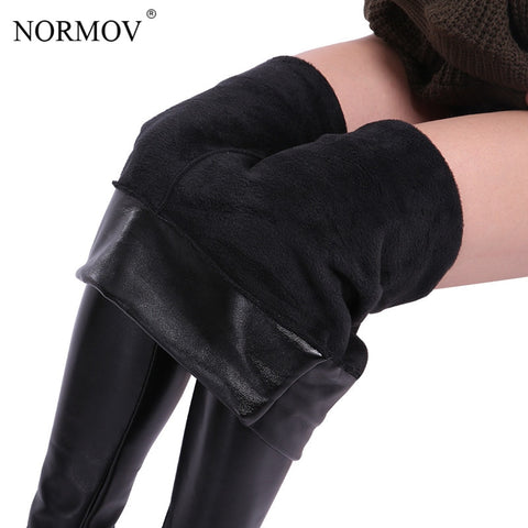 NORMOV XS-5XL Winter Plus Size Leather Leggings Women Pants High Waist Warm Leggings Thick Velvet Women Leggins Push Up Legging