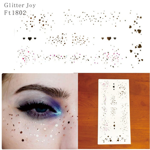 FT1802  Gold and Silver Irregular Spot Glitter Freckles Makeup Tattoo Sticker for Body Makeup inpsired