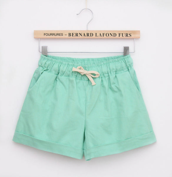 2016 Summer Style Shorts Women Candy Color Elastic With Belt  Short Women  A224