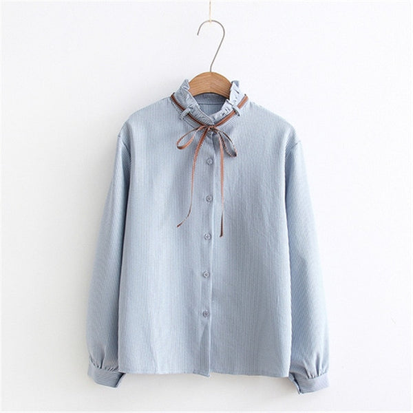 2018 New Female Chiffon Blouse Shirt Lady Solid Bow Shirt Loose Stand collar Women Long-Sleeved Shirts Dropshiping