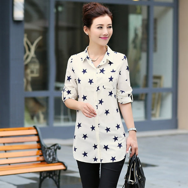 New Fashion Print Blouses Women Long Style Shirts 2018 Cotton Ladies Tops Long Sleeve Blusas Femininas Plus Size Women Clothing
