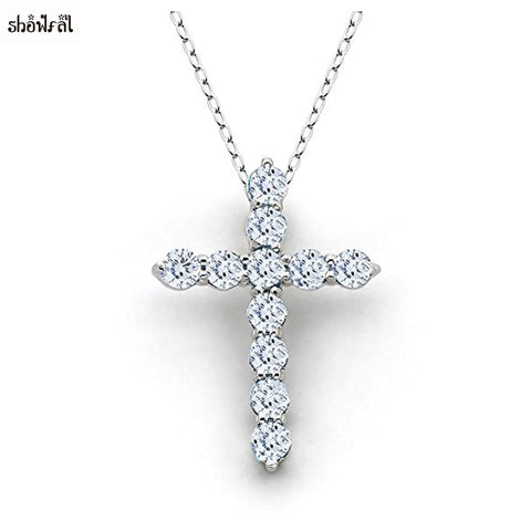 New Latin Cross Charm Necklace with Clear Zircon Elements Crystals Pendant Women's Round Sterling Silver Genuine Cross Necklace