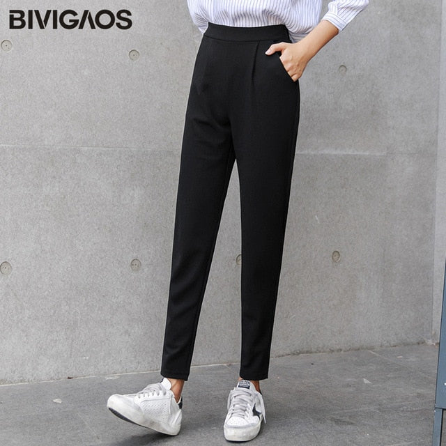 BIVIGAOS 2018 Spring Summer New Ladies Korean OL Black Harem Pants Breathable Thin Casual Pencil Pants Simple Trousers For Women
