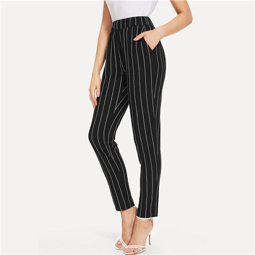 Sheinside Elastic Waist Pinstripe Cigarette Pants Black Mid Waist Tapered Carrot Trousers Women Summer Office Ladies Pants