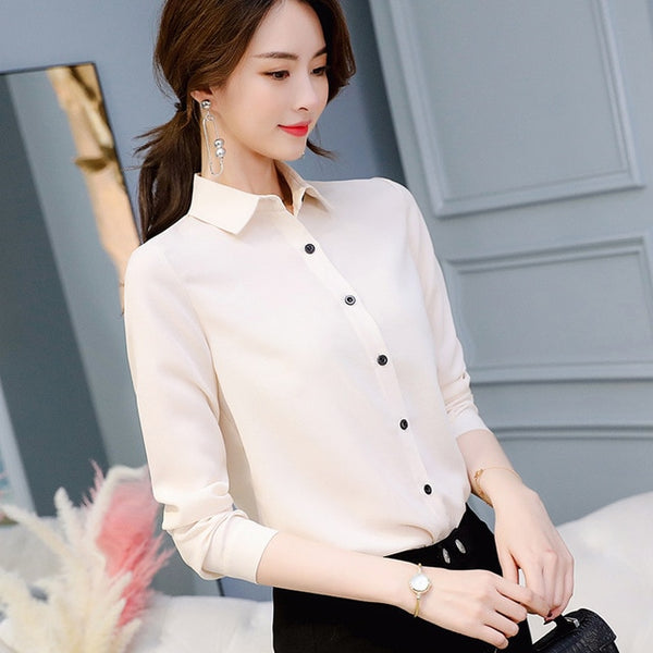Spring Summer Women Tops Long Sleeve Casual Chiffon Blouse Female V-Neck Work Wear Solid Color White Office Shirts For Women
