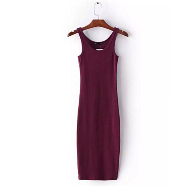 Sexy O neck  Stretch Sleeveless Midi Dress 2016 New Women AA Vintage Package Hips Long Tank Dresses 4 colors