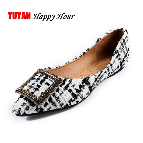 Fashion Boat Shoes Women Pointed toe Office Ladies Flat Footwear Elegant Women's Flats Luxury Brand Plus Size 10 A057