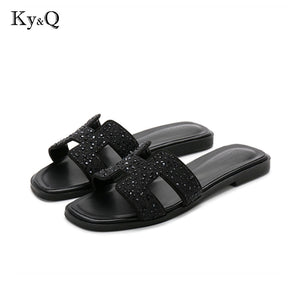 2004437d600 new crystal slippers cut out summer beach sandals Fashion women slides  outdoor slippers indoor slip ons