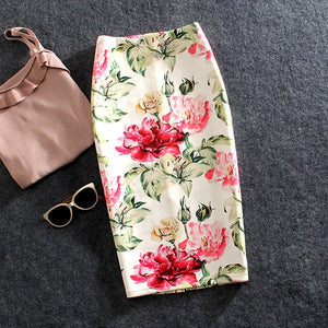 Women Skirts Summer Print Flowers Pencil Skirt Casual Skirts Knee-Length Plus Size Faldas Mujer Moda Jupe Femme