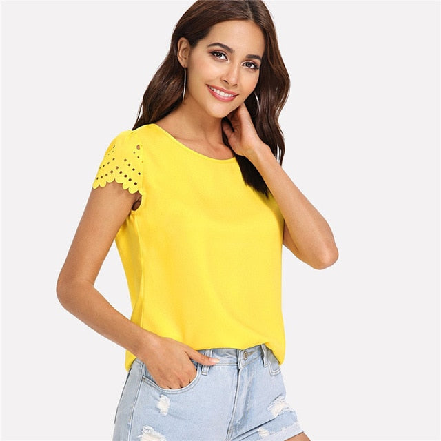 COLROVIE Yellow Scallop Laser Cut Cap Sleeve Hollow Out Button Casual Women Blouse Shirt 2018 Summer Female Blouse And Tops