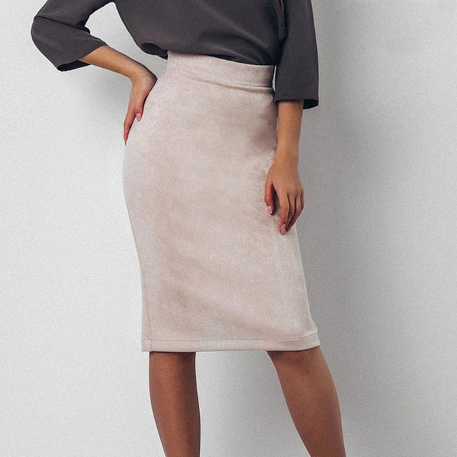 Women Skirts Suede Split Thick Stretchy Skirt Female Autumn Winter Bodycon Sexy Pencil Skirts Plus Size