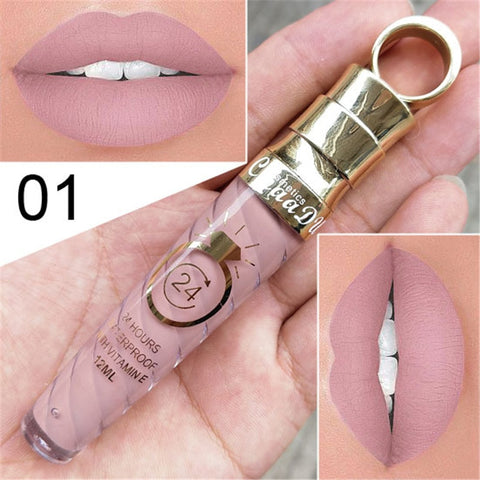 New!!Make Up Lips Matte Liquid Lipstick Waterproof Long Lasting Sexy Pigment Nude Glitter Style Lip Gloss Beauty Red Lip Tint