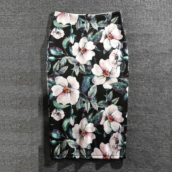 Women Skirts Casual Print Flowers Pencil Skirt Stretchy Skirts Plus Size 22Colors Faldas Mujer