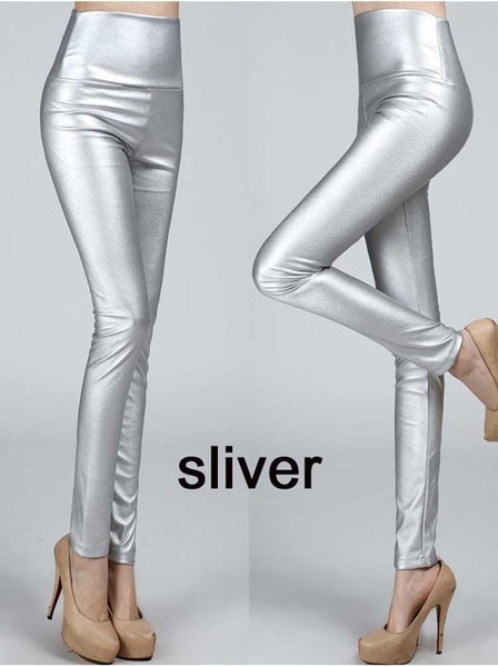 2018 Thicken Winter PU Leather women pants high waist elastic fleece stretch Slim woman pencil pants skinny trousers 25 colors