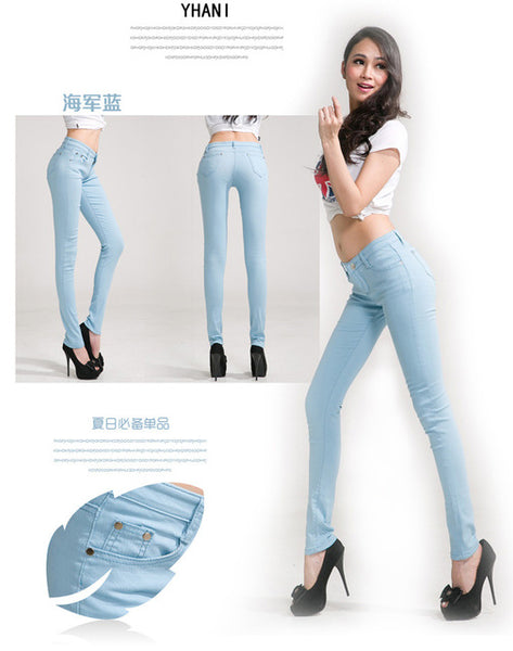 Elastic force jeans Female Denim Pants Candy Color Womens Jeans Donna Stretch ms Feminino Skinny Pants For Women Trousers 2018