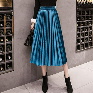 2018 Autumn Winter Velvet Skirt High Waisted Skinny Large Swing Long Pleated Skirts Metallic 18 Colors Plus Size 3XL Midi Saia