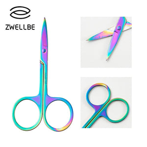 1 PC Rainbow Chameleon Curved Head Stainless Steel Eyebrow Scissor Makeup Trimmer Facial Hair Remover Beauty Tools