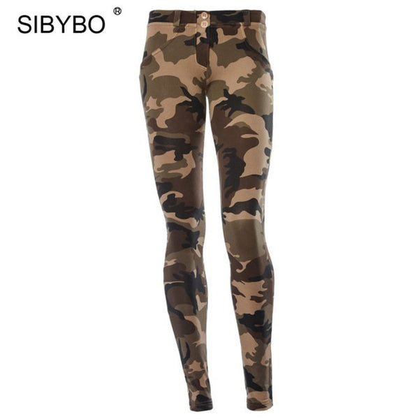 JULISSA MO Camouflage Print Bodycon Pencil Pants Women 2018 Autumn Sexy Low Waist Skinny Women Legging Casual Club Pant Trousers