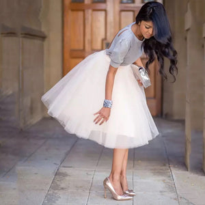 Puffy New Arrival 5 Layer Fashion Women Tulle Skirt Tutu Wedding Bridal Bridesmaid 2018 Overskirt Petticoat Lolita Saia