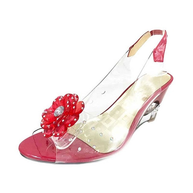1c57ebc63424 ... SaraIris large size 30-43 Fashion Summer Rhinestone Flower wedge High  Heels Casual Jelly Shoes ...